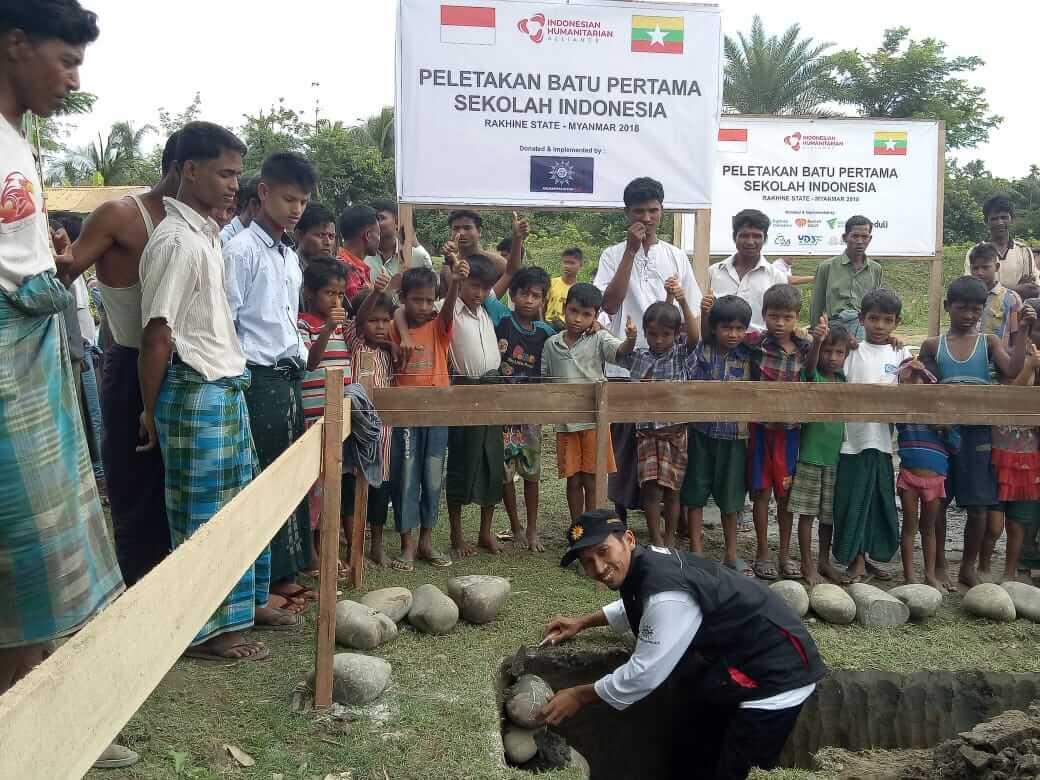 Peletakan Batu Pertama, Muhammadiyah Aid Dirikan Dua Sekolah Di Rakhine State Myanmar